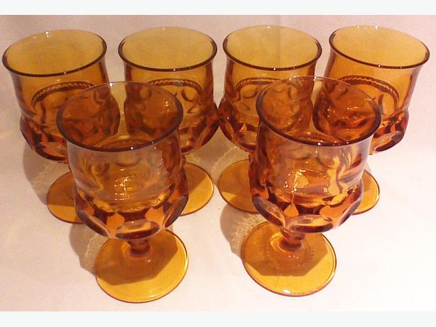 Indiana Glass King's Crown Thumbprint Amber glassware