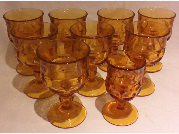 Indiana Glass King's Crown Thumbprint Amber stemmed glassware