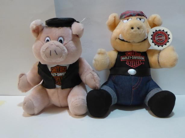 "2 HARLEY DAVIDSON ""HOG"" STUFFED ANIMALS WITH LOGO - MINT - NEVER USED"