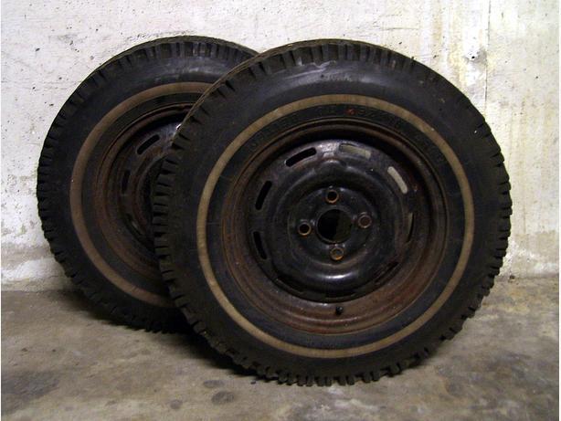 Chevette, Acadian Studded Winter Whitewall Tires & Rims