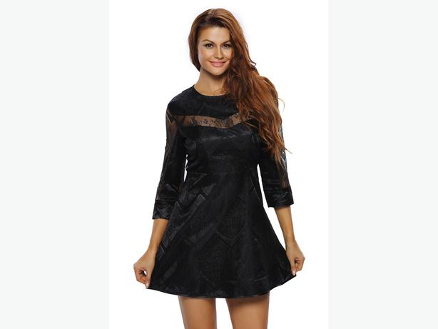 new Lace Overlay Sleeved Skater Dress M/L
