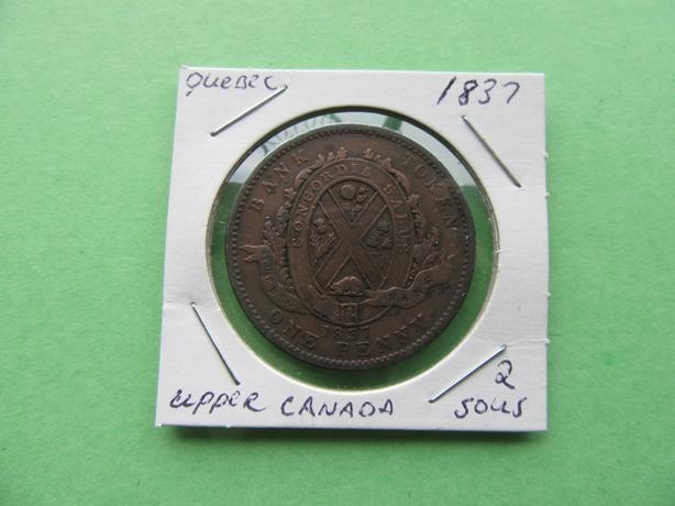1837 UPPER CANADA QUEBEC ONE PENNY TOKEN.