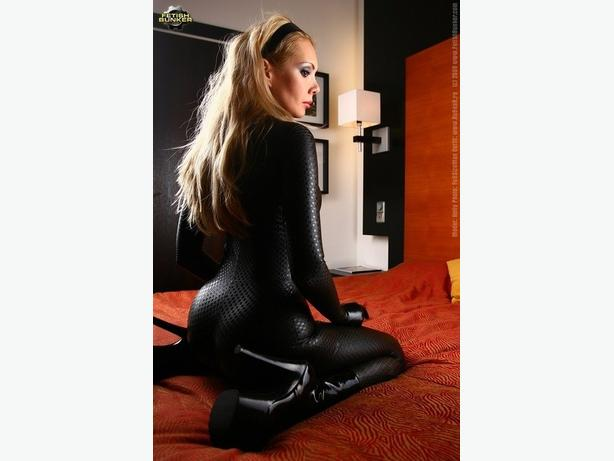 Square Patterned Wetlook Catsuit L