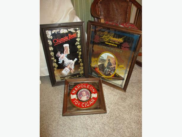 THREE 1970S ADVERTISING MIRRORS FROM ESTATE