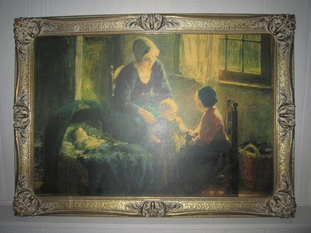 LARGE PAINTING REPRODUCTION PRINT, OLD FRAME