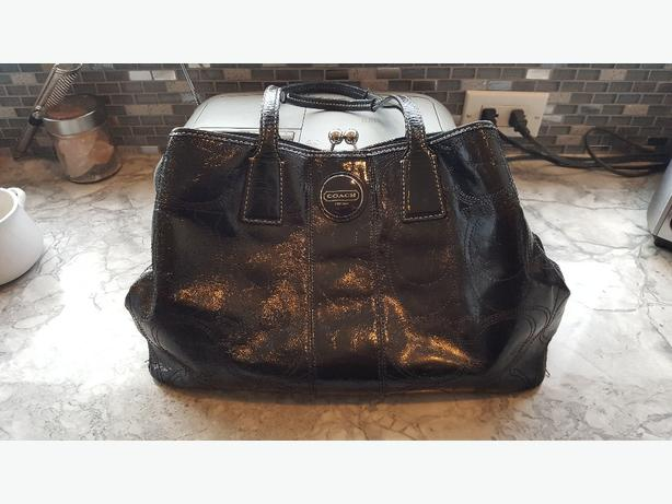 COACH Black Leather Handbag Purse Like New!