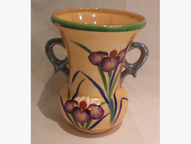 Nagoya Japan peach lustre hand-decorated vase