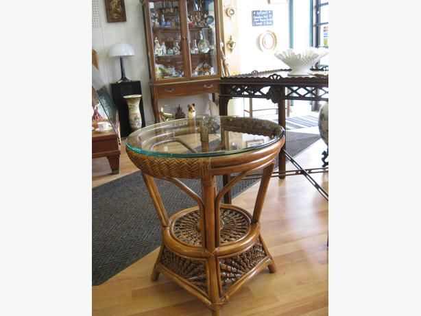Wicker / Rattan Table -- FROM PAST TIMES Antiques - 1178 Albert St