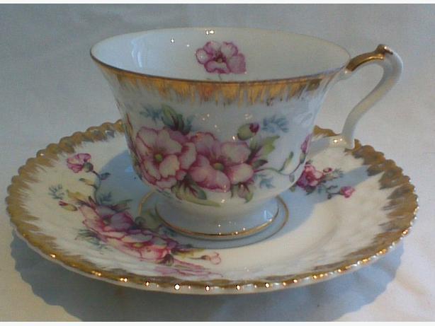 Royal China handpainted hibiscus teacup & saucer