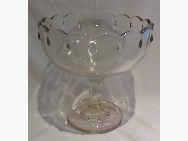 Indiana Glass Teardrop-Clear centrepiece decorator bowl