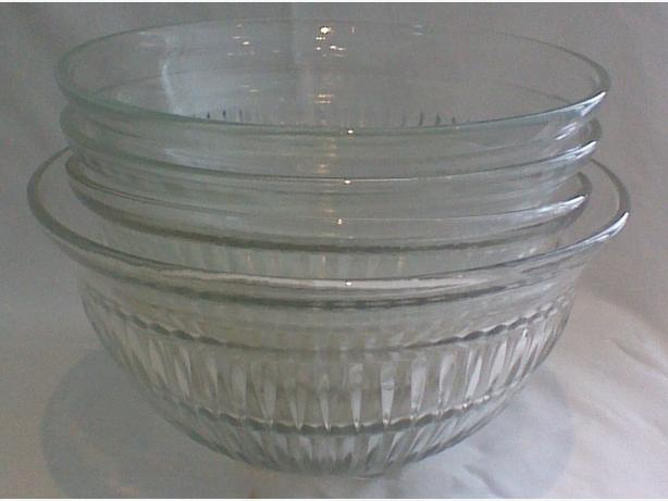 Vintage clear ribbed petal foot mixing bowls