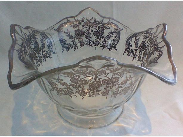 Silver overlay footed glass bowl