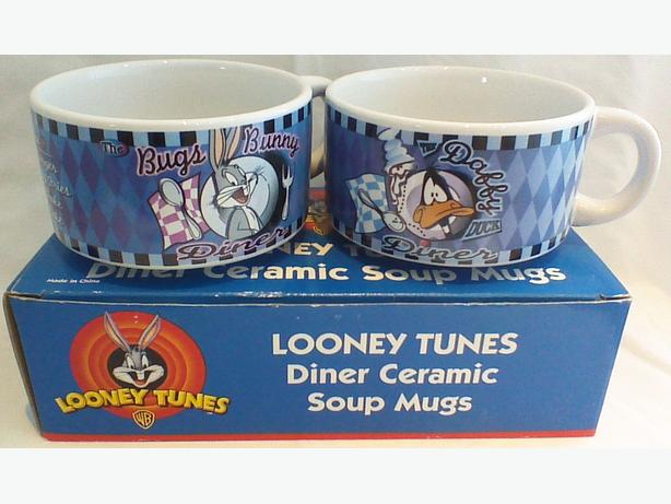 Vintage 1998 Looney Tunes Diner Ceramic Soup Mugs