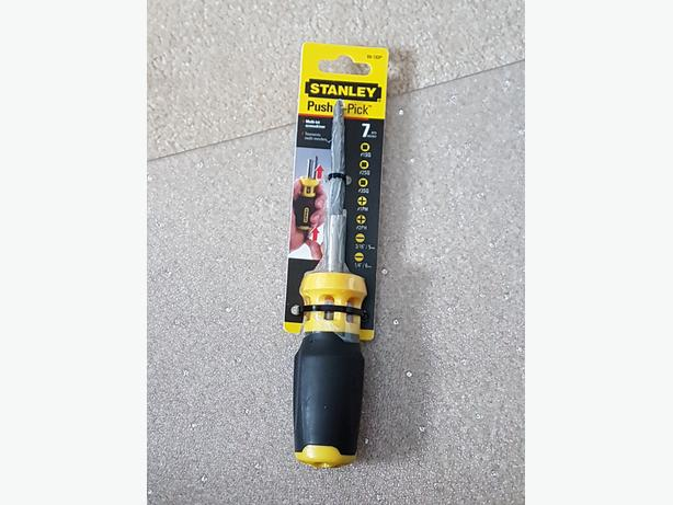 NEW (VALUE $19) STANLEY PUSH AND PICK SCREWDRIVER - 7 BITS
