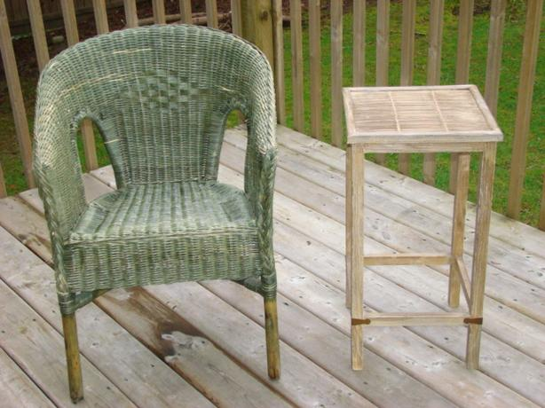 Green Wicker Chair and Side Table $100