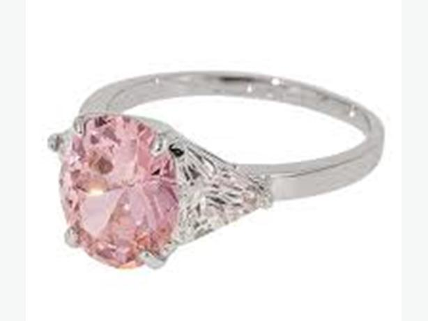 """Tickle me pink"" Pink Quartz Solitaire Ring Fifth Ave New with Tag Sises 7, 8, 9"
