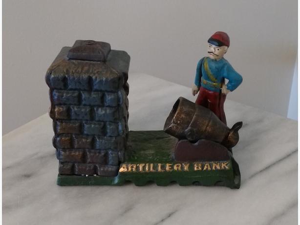 ARTILLERY BANK CAST IRON MECHANICAL BANK