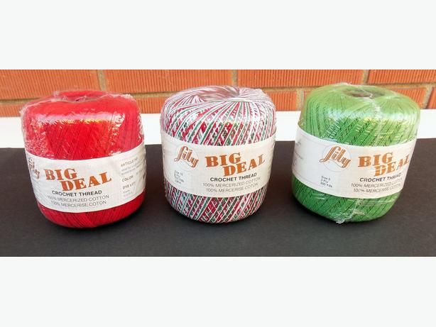 3 Lily Big Deal Crochet Thread  100%  Cotton Balls - Unopened
