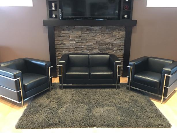 Leather Loveseat with 2 matching leather chairs