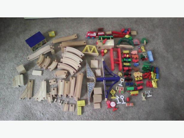 wooden train track lot