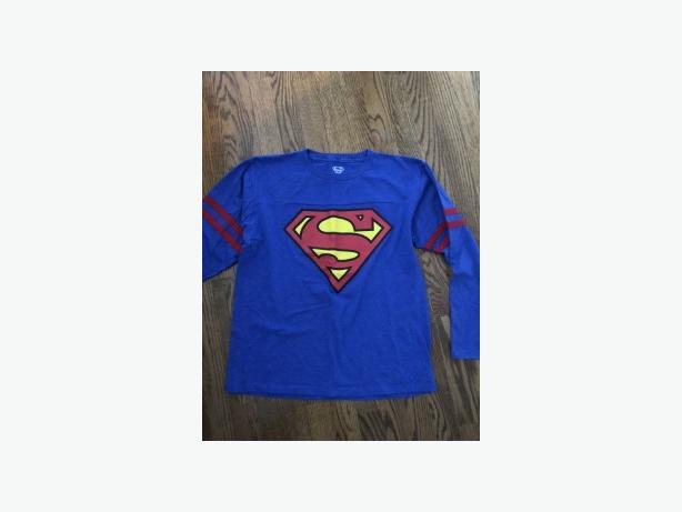 BOYS SUPERMAN LONG SLEEVE COTTON TOP SIZE 14