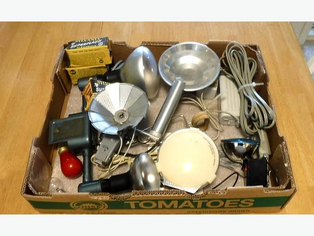 Tray Lot of Vintage Photographic Lighting Stuff
