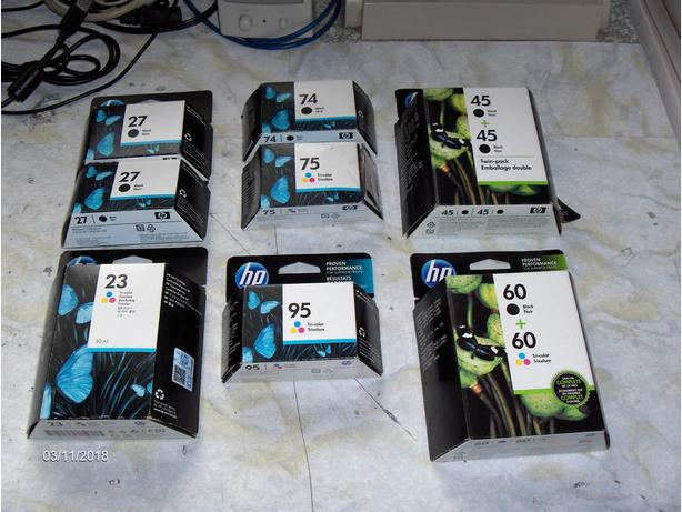 Brand-new, unopened assorted HP black & colour ink cartridges