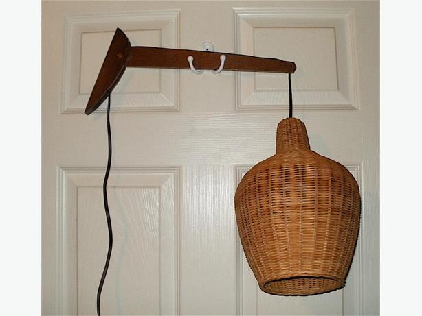 Mid-Century Modern Hanging Pendant Teak Light w/ Wicker Shade