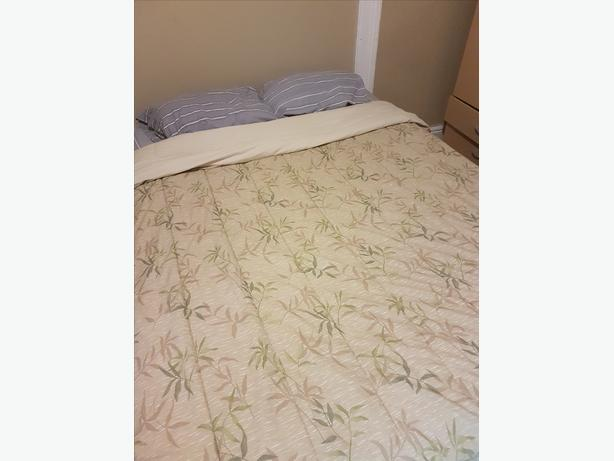 Queen Mattress, Boxspring, and Metal Frame