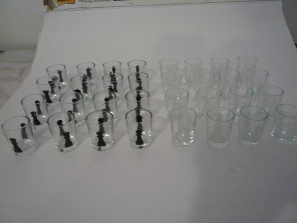Shot glasses for chess drinking game