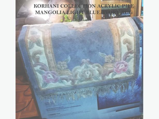 Korhani Collection Mangolia Light Blue/Ivory, Acrylic Pile Rug