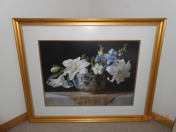 Lilies in Delft Blue Bowl