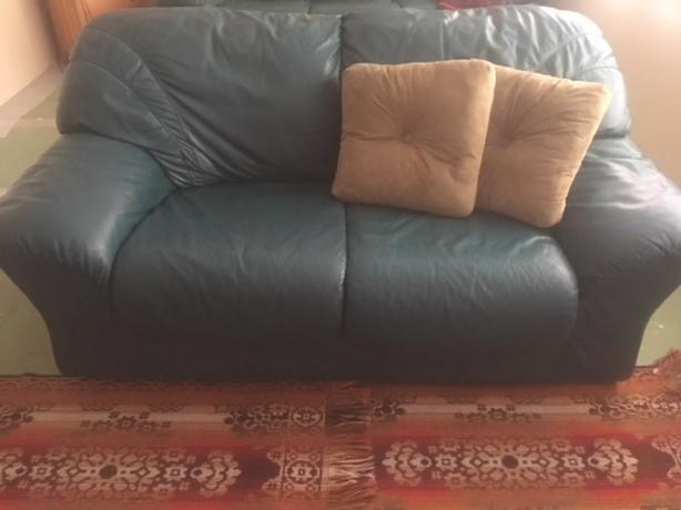 Leather Love seat or sofa-Forest Green