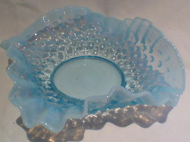 Blue opalescent hobnail double-flip edge dish