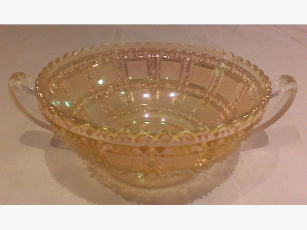 "Imperial Glass ""Beaded Block"" marigold opalescent handled bowl"