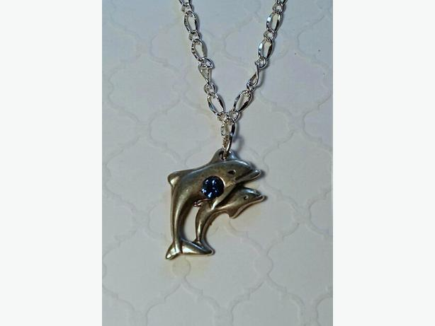 Double Dolphin Pendant & Chain
