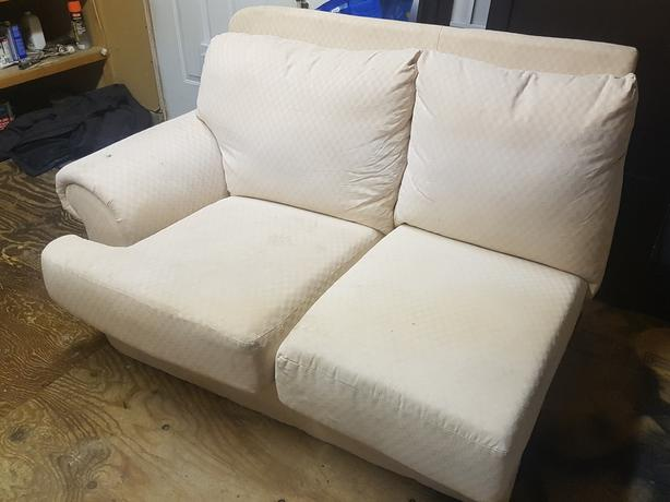 L shaped white couch