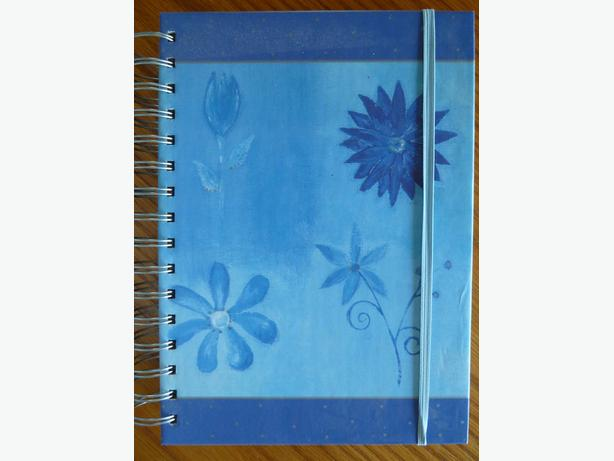 journal notebook beautiful blue floral hard cover New