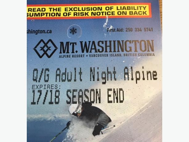Mt. Washington Adult Night Pass Skiing- 17/18 Season