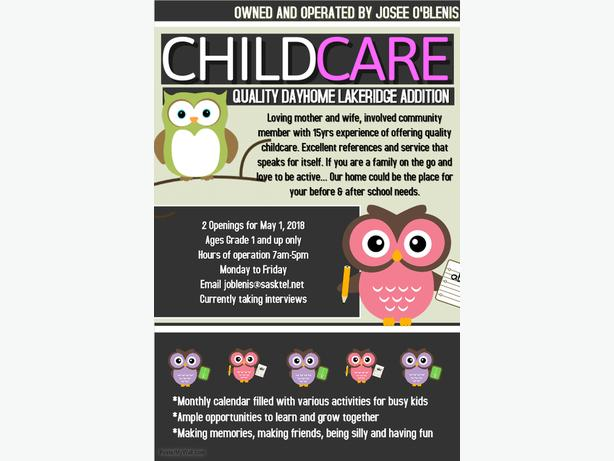 Before and After School Childcare Openings NW Regina