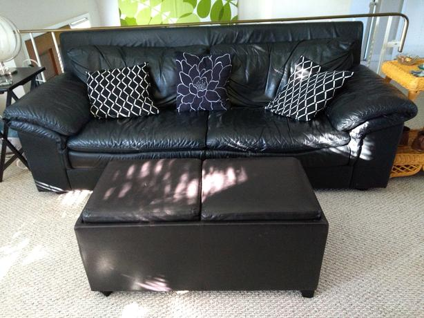 Leather couch, storage ottoman, lazy boy - also sold separatly