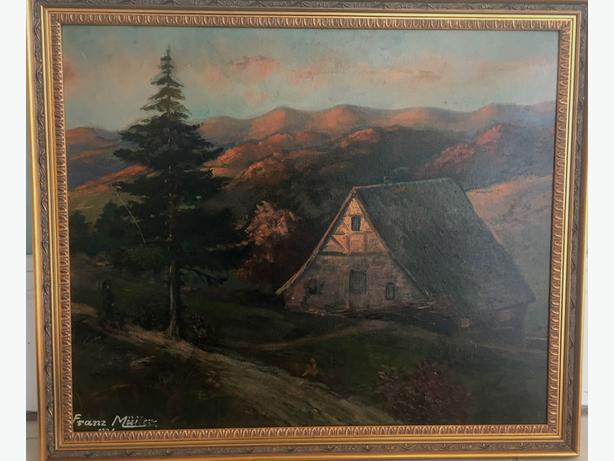 "1921 Oil on Board ""Cabin in Twilight"" signed by Artist Franz Muller"