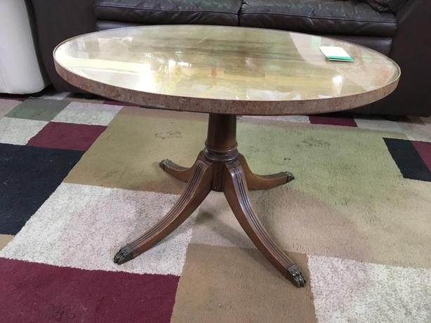 SALE 25% OFF Hardwood & Glass Claw-foot Coffee Table | #860