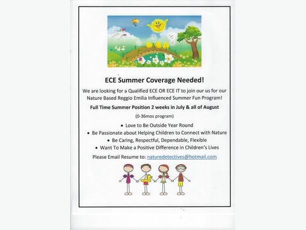 ECE Needed for Summer Coverage!
