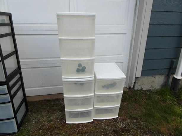 3 sets of 3 drawer stacking storage bins- N. Duncan