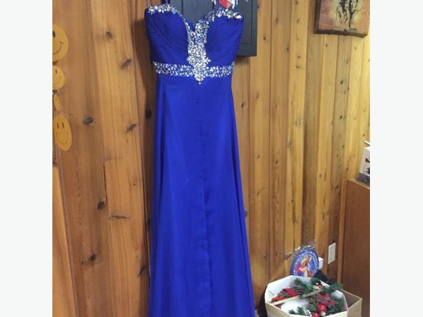 Royal Blue Strapless Graduation Dress
