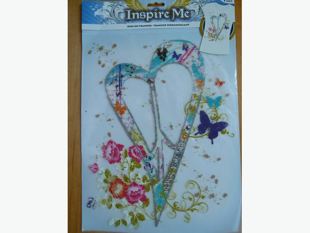 iron-on transfer heart, peace symbol, flowers, butterflies