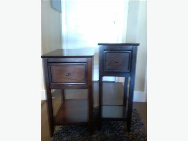 Two Dark brown pier one side tables