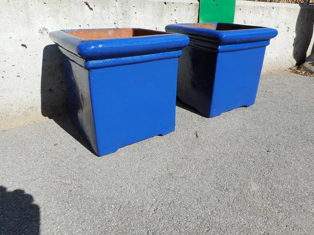 Pair of Blue Clay Pots