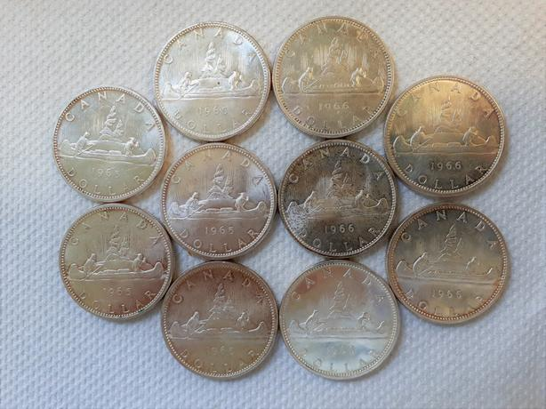 TEN CANADIAN SILVER DOLLARS